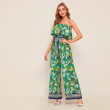 Foldover Front Self Belted Wide Leg Tropical and Tribal Tube Jumpsuit
