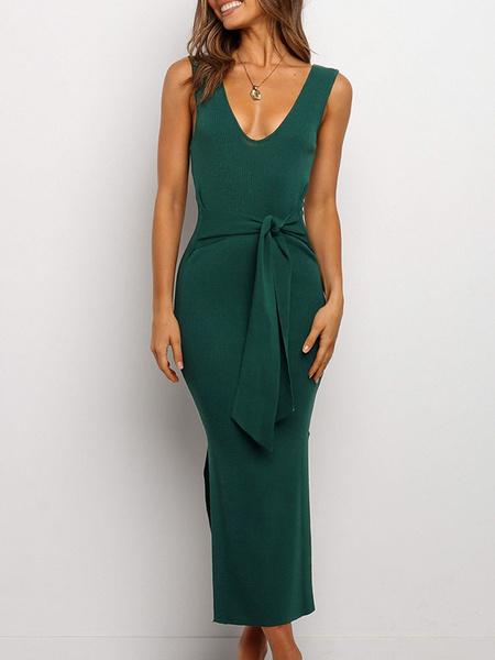 Milanoo Bodycon Dresses Backless Split Sleeveless Pencil Dress