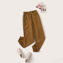 Girls Paperbag Waist Corduroy Pants