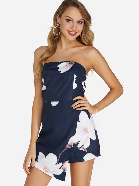 Yoins Navy Backless Design Random Floral Print Off Shoulder Sleeveless Playsuits