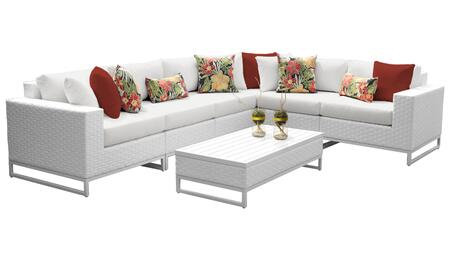 Miami MIAMI-07g-WHITE 7-Piece Wicker Patio Furniture Set 07g with 1 Corner Chair  3 Armless Chairs  1 Coffee Table  1 Left Arm Chair and 1 Right Arm
