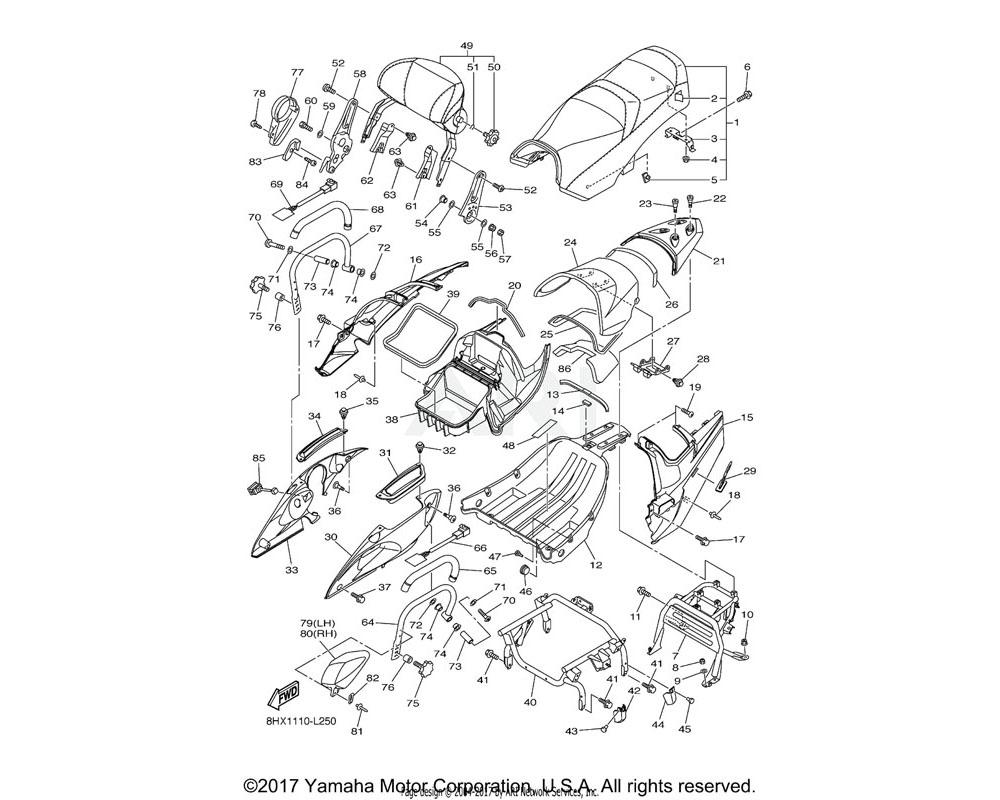 Yamaha OEM 8HF-24756-00-P8 COVER, TAIL | MNM3