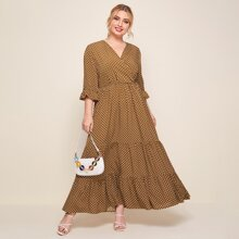 Plus Surplice Neck Flounce Sleeve Polka Dot Tiered Hem Dress