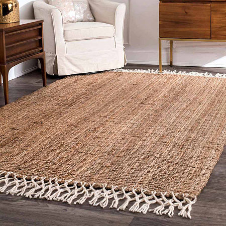 nuLoom Hand Woven Raleigh Rug, One Size , White