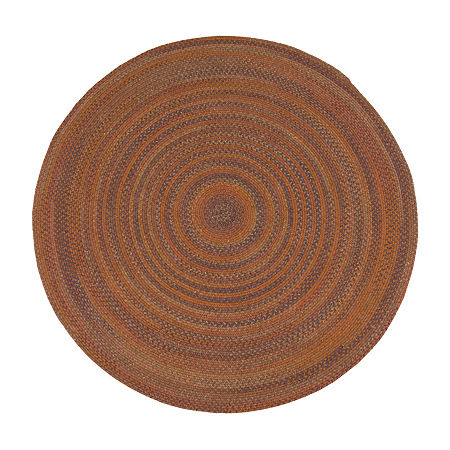Colonial Mills Greenbrier Reversible Braided Wool Round Rug, One Size , Orange