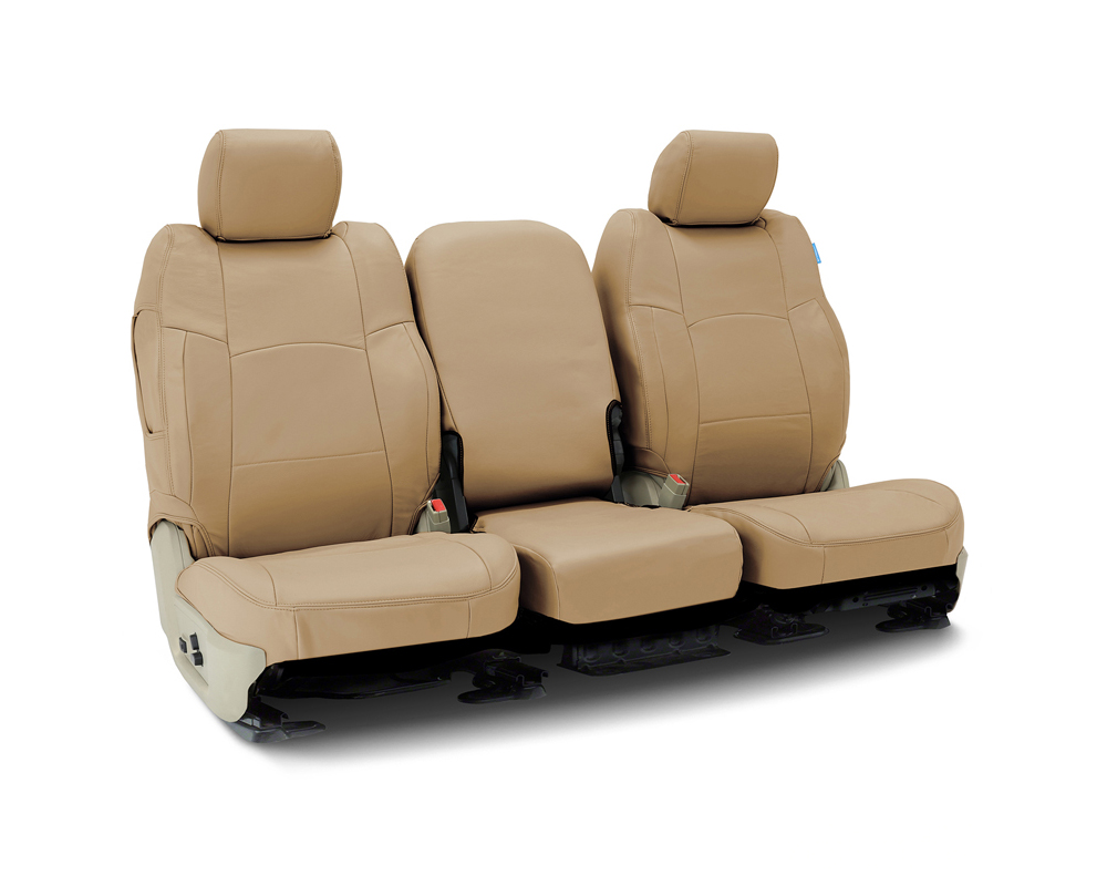 Coverking CSC1L5FD7005 Custom Seat Covers 1 Row Genuine Leather Beige Front Ford F-250 | F-350 Super Duty 2002-2004