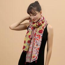 Schal mit Blumen Muster und Quasten