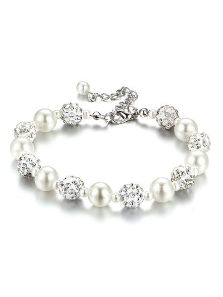 Milanoo Bracelets Women Bracelet Silver Shamballa Metal Imitation Pearl