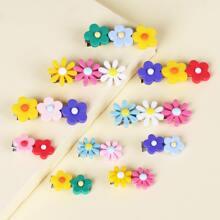 10 piezas horquilla de niñitas con diseño de flor