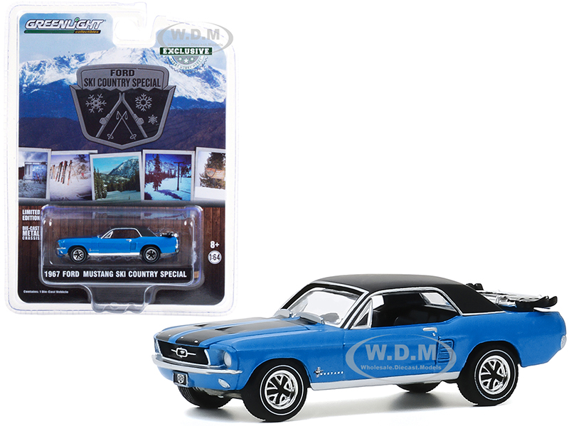1967 Ford Mustang Vail Blue with Black Stripes and Top and a Pair of Skis