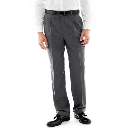 Stafford Executive Super 100 Pleated Suit Pants - Classic, 33 32, Gray