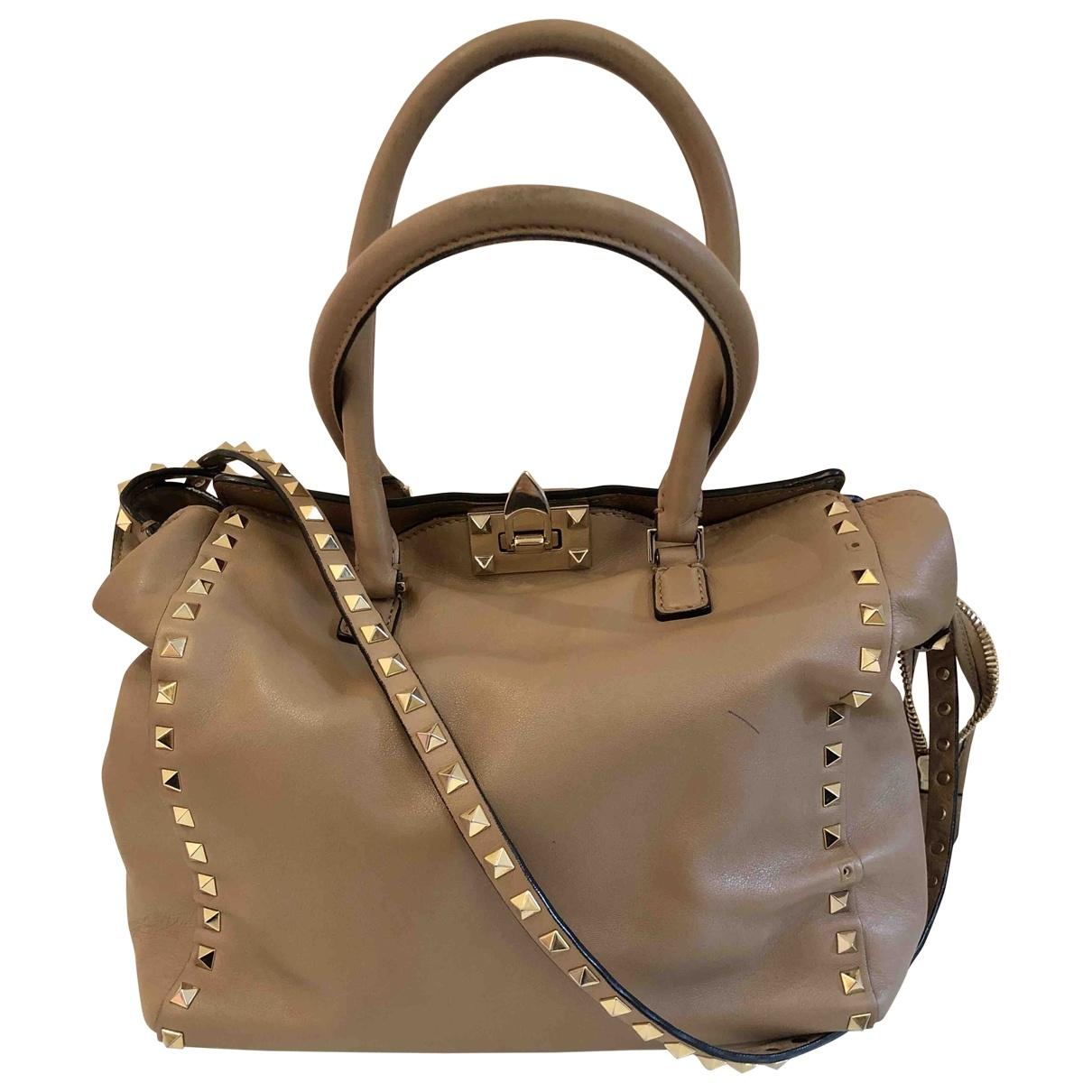 Valentino Garavani Rockstud Beige Leather handbag for Women \N