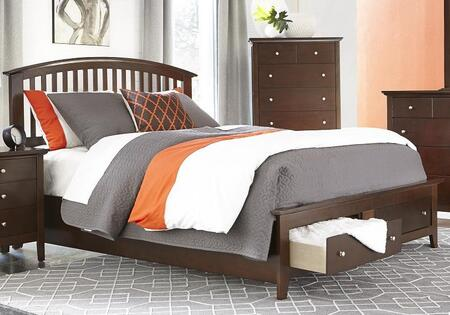 Jana Collection JA3000-Q Queen Size Storage Bed with Slat Headboard  2 Drawers in Footboard  Molding Details  Tapered Legs  Tropical Hardwood and