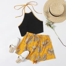 Contrast Binding Tie Back Halter Top & Tropical Shorts Set