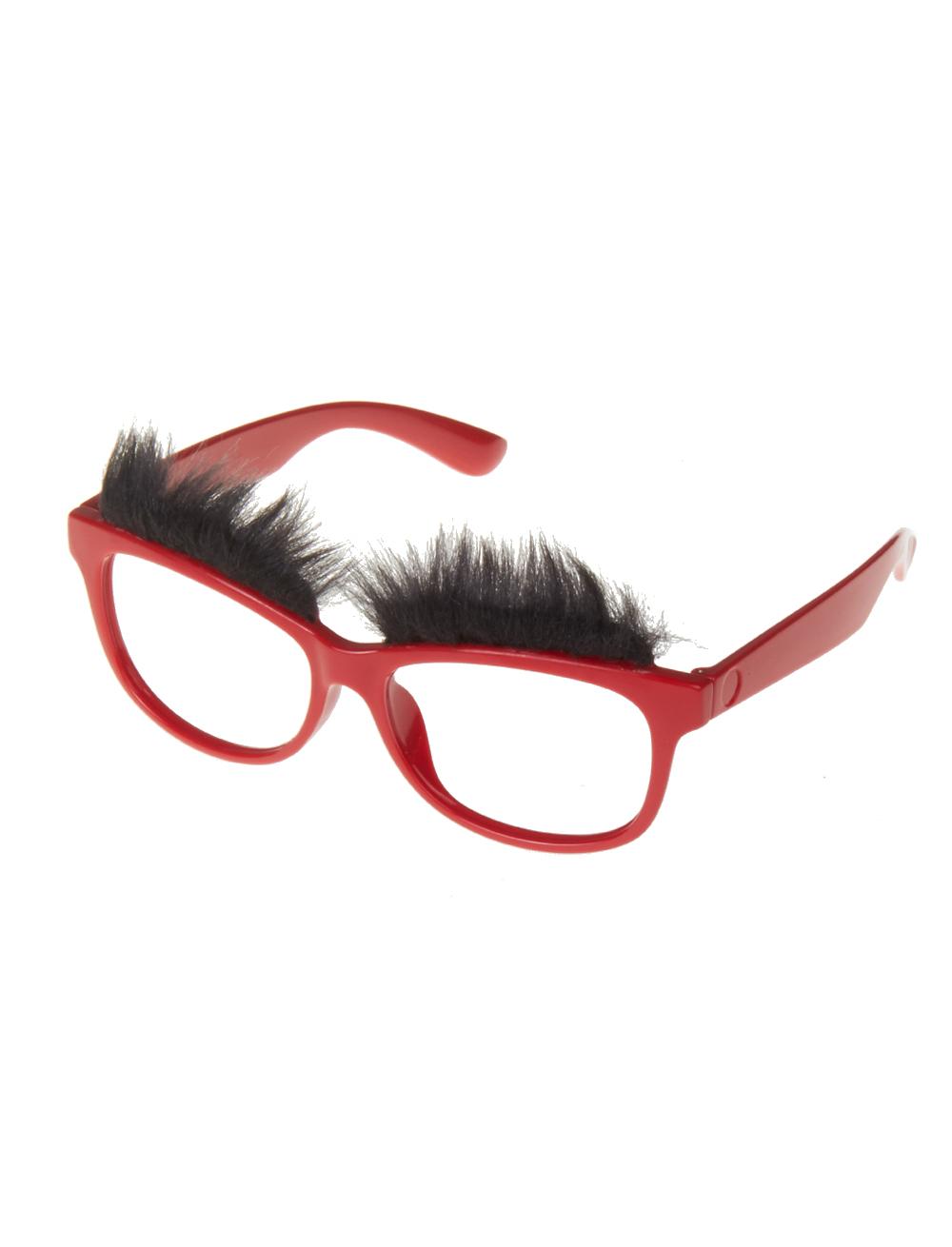 Kostuemzubehor Brille mit Augenbrauen rot