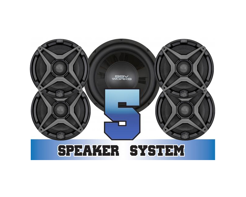 SSV Works COMMANDER-5 Complete 5 Speaker System Can-Am Maverick 1000R X mr DPS 15-16