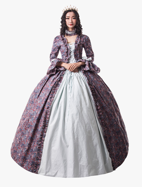 Milanoo Victorian Dress Costume Womens Baby Blue Trumpet Long Sleeves Ruffle Floral Print Ball Gown Victorian Era Style Set with Choker Vintage Cloth