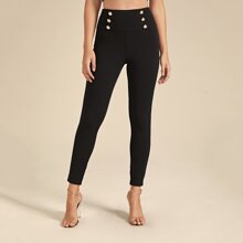 Double Button Detail Wide Band Waist Skinny Pants