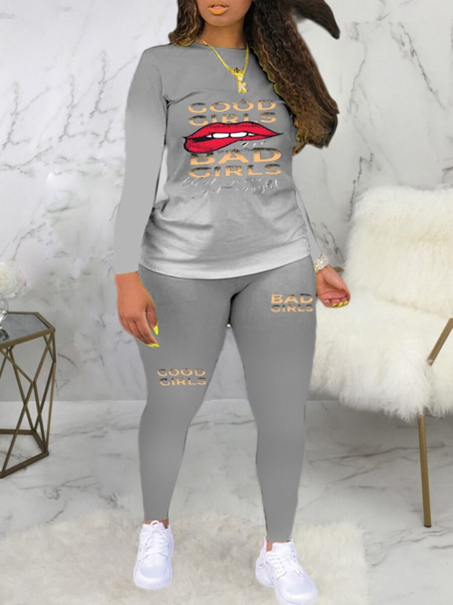 LW Lovely Casual Gradient Lip Print Grey Plus Size Two-piece Pants Set