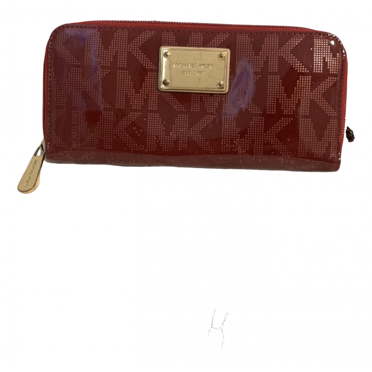 Michael Kors - Portefeuille   pour femme en cuir verni - rouge