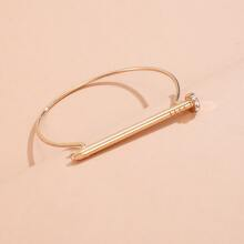 Rhinestone Decor Structured Bracelet