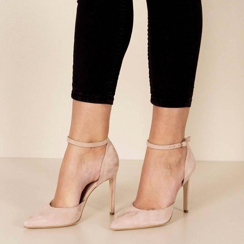 EricdressSuede Plain Pointed Toe Stiletto Heel Pumps