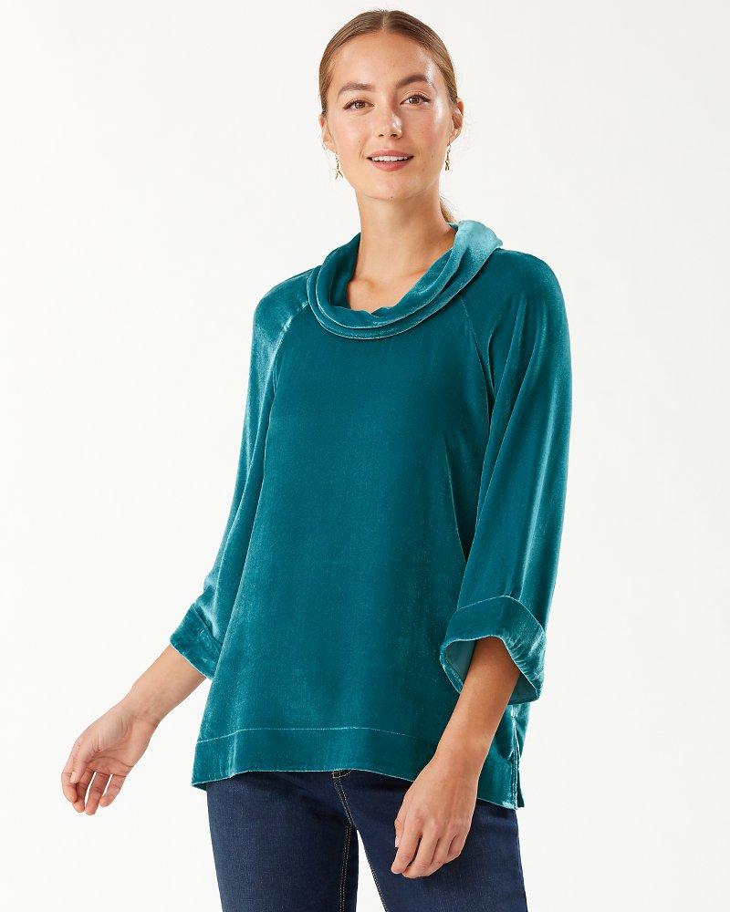 Velvet Sands 3/4-Sleeve Cowl-Neck Sweater