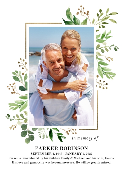 Sympathy Flat Glossy Photo Paper Cards with Envelopes, 5x7, Card & Stationery -Memorial Sympathy Floral by Tumbalina