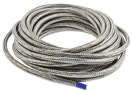 TE Connectivity Expandable Braided Nickel Plated Copper Alloy Cable Sleeve, 4mm Diameter, 10m Length, RayBraid Series (10)