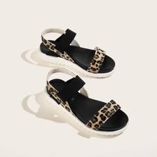 Sandalias con banda elastica con estampado de leopardo