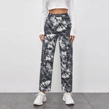 Letter Graphic Tie Dye Straight Jeans