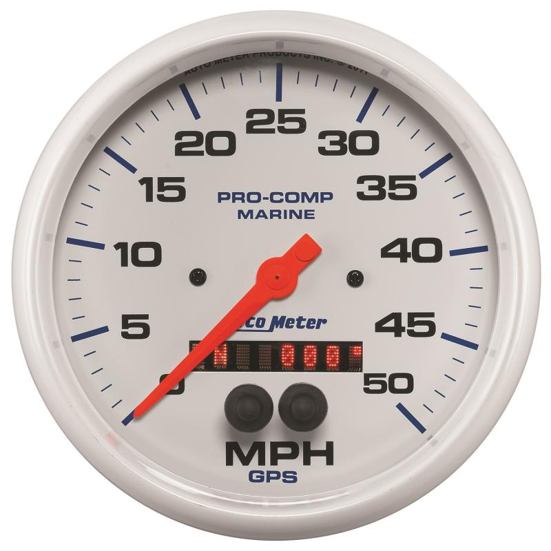 AutoMeter GAUGE; SPEEDOMETER; 5in.; 50MPH; GPS; MARINE WHITE