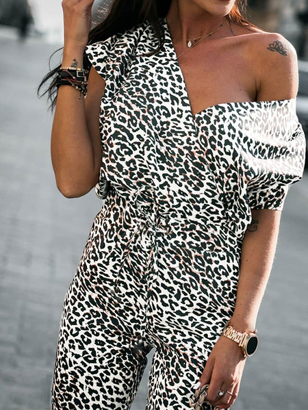 Yoins Leopard Snake Print Wrap design Short sleeves Jumpsuits