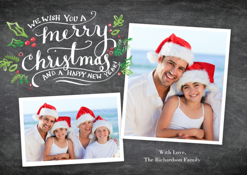 Christmas Photo Cards 5x7 Cards, Premium Cardstock 120lb with Scalloped Corners, Card & Stationery -Christmas Festive Holly