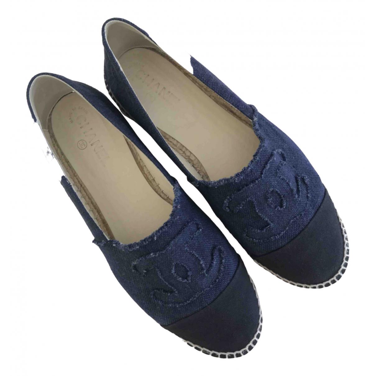 Chanel - Espadrilles   pour homme en toile - bleu