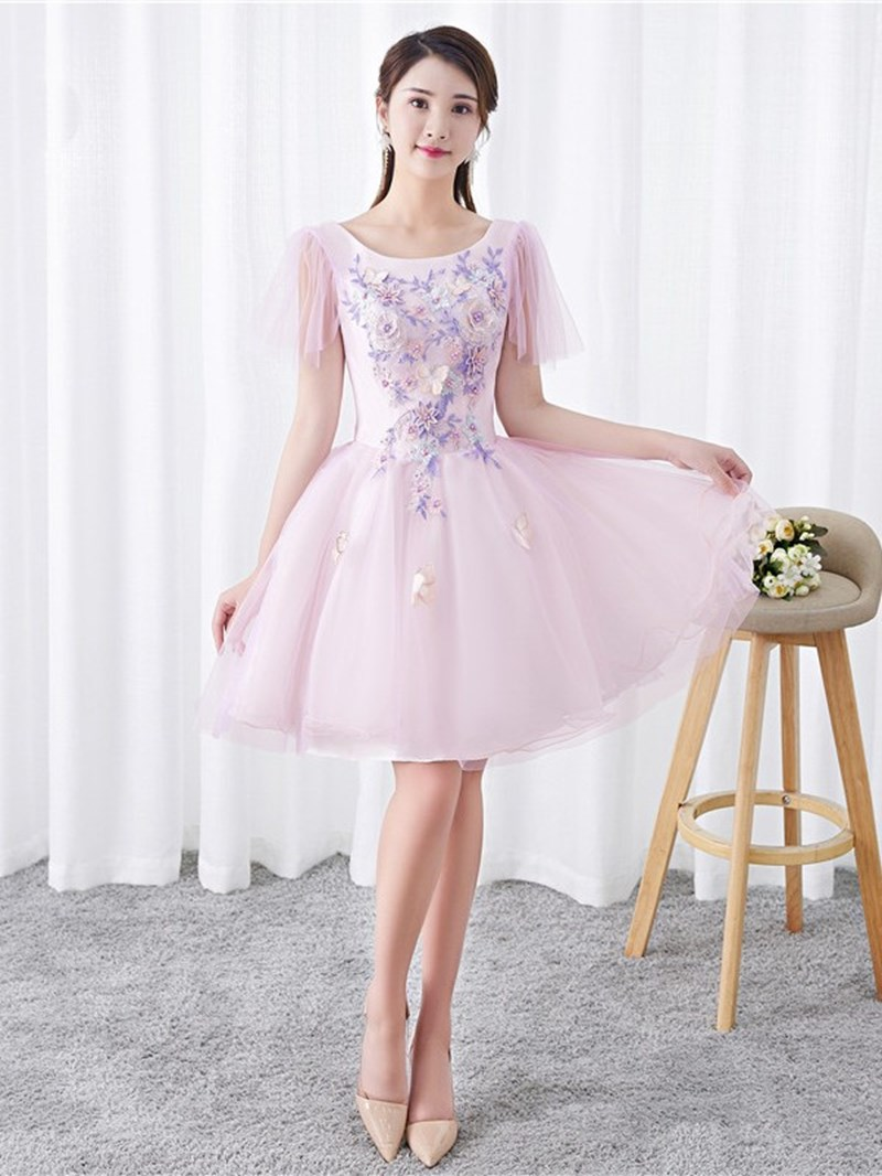 Ericdress Appliques Knee-Length Short Sleeves Scoop Homecoming Dress