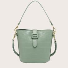 Croc Embossed Bucket Bag