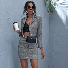 Button Front Plaid Tweed Jacket