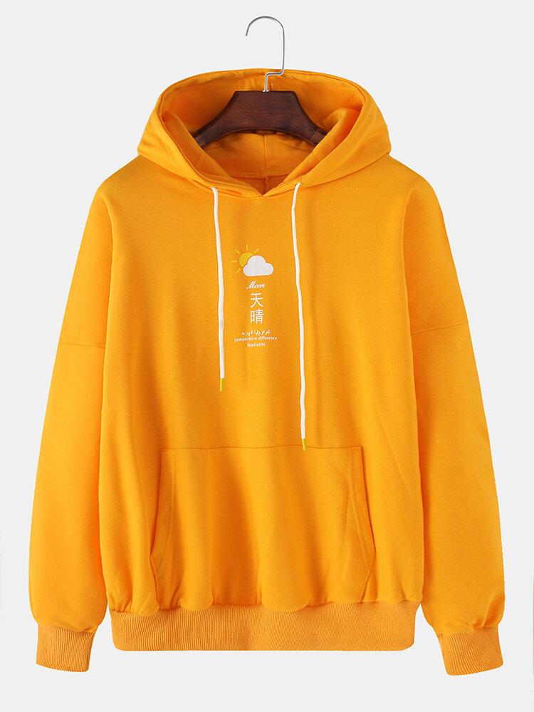 Mens Solid Character Chest Print Loose Kangaroo Pocket Pullover Hoodies
