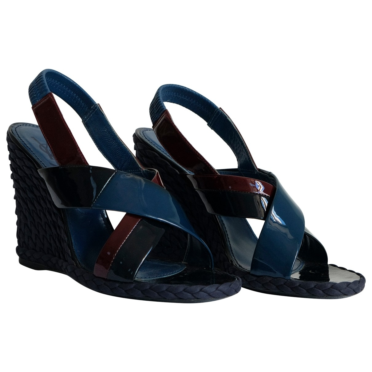 Yves Saint Laurent \N Navy Patent leather Sandals for Women 37 EU