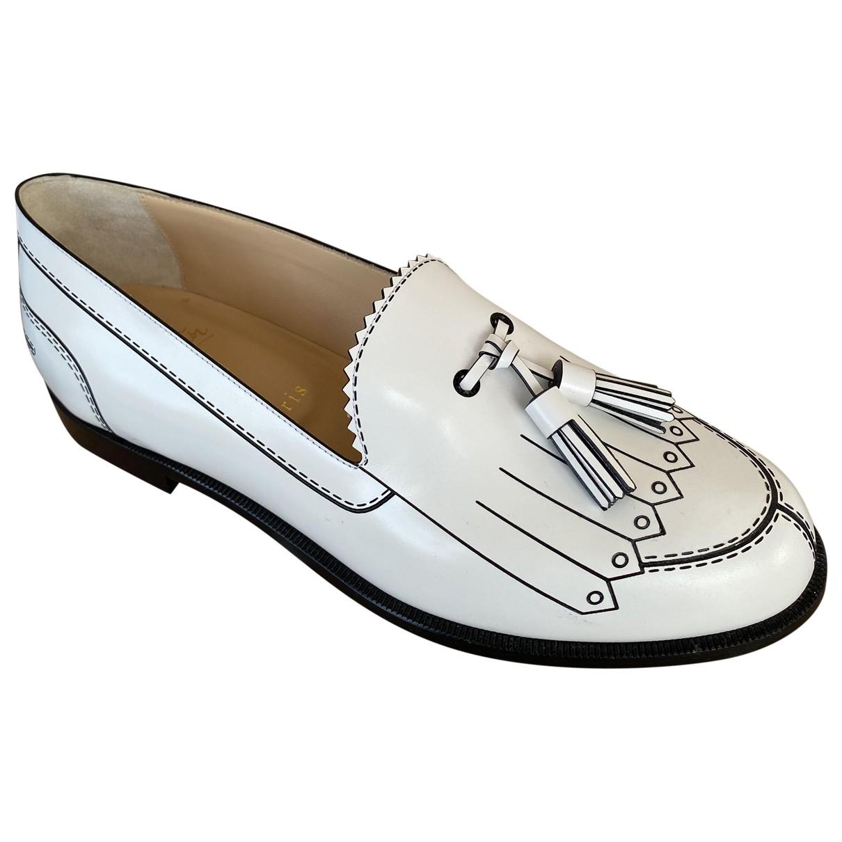 Christian Louboutin \N White Leather Flats for Women 38 EU