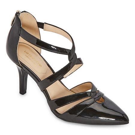 Liz Claiborne Womens Havra Pointed Toe Kitten Heel Pumps, 9 Medium, Black