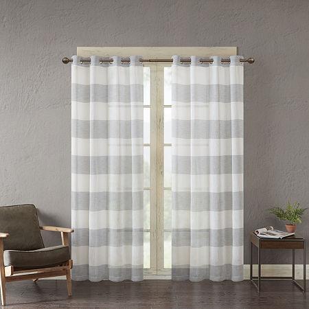 Urban Habitat Chapin Light-Filtering Grommet-Top Single Curtain Panel, One Size , Gray