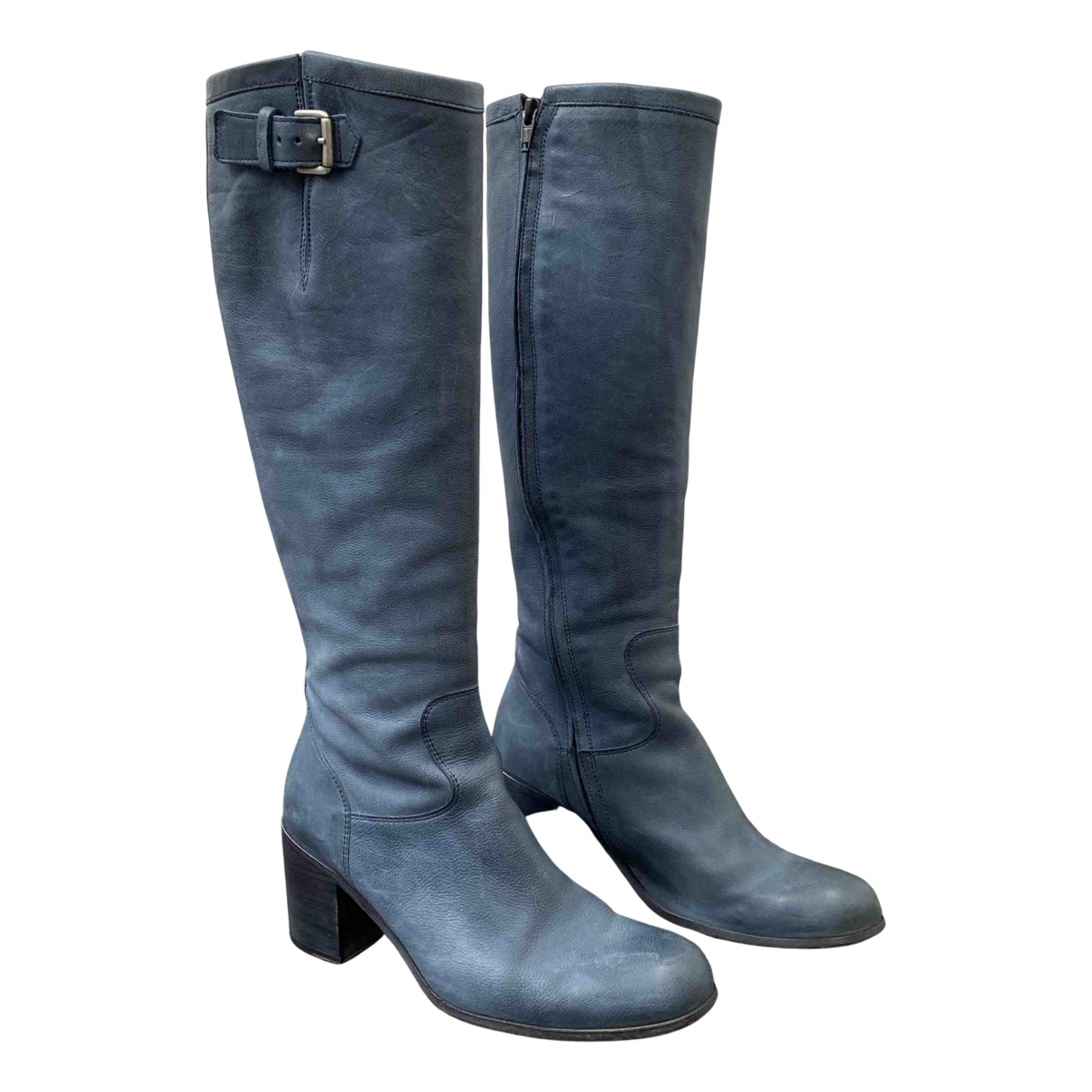 Free Lance Geronimo Blue Leather Boots for Women 36 EU