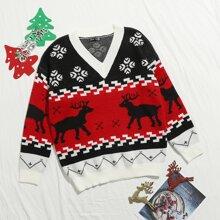 Christmas Deer Colorblock Sweater