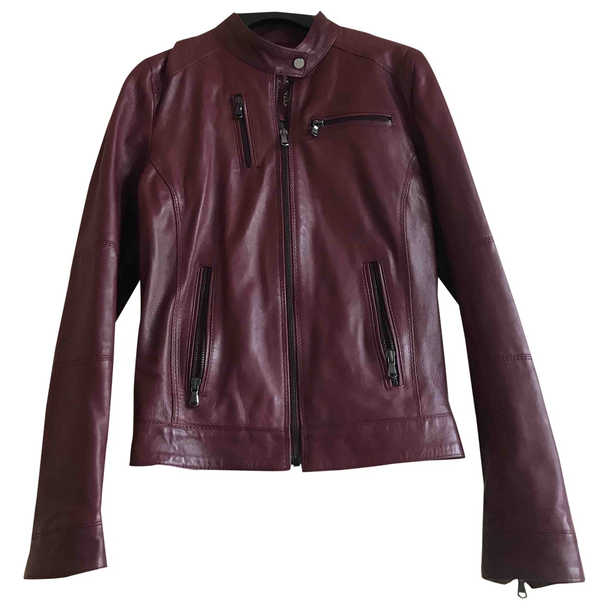 Non Signé / Unsigned \N Burgundy Leather Leather jacket for Women XS International