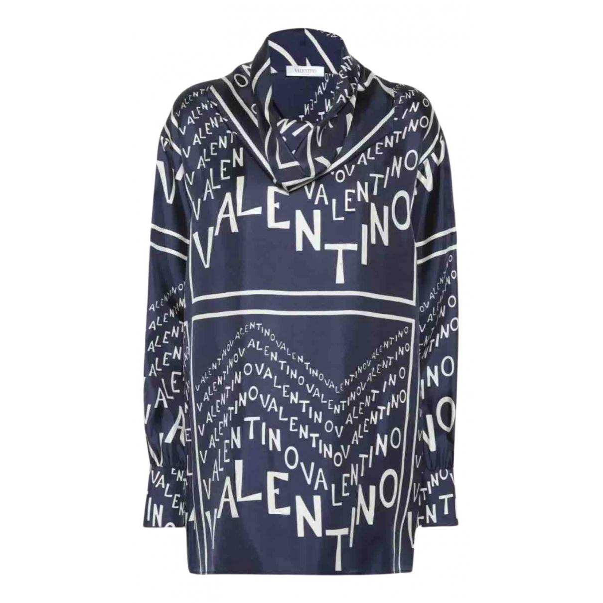 Valentino Garavani - Top   pour femme en soie - bleu
