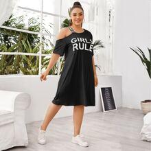 Asymmetrisches T-Shirt Kleid mit Buchstaben Grafik