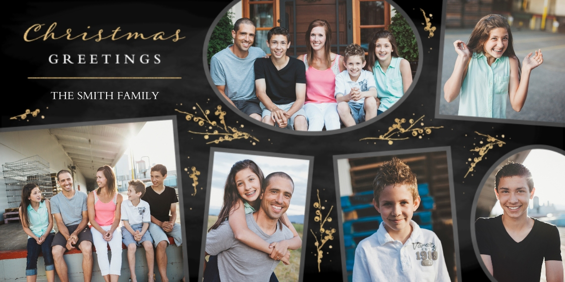 Christmas Photo Cards Flat Glossy Photo Paper Cards with Envelopes, 4x8, Card & Stationery -Into Merry Greetings