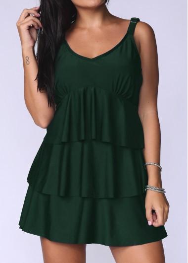 Dark Green Plus Size Layered Hem Swimdress and Panty - 2X